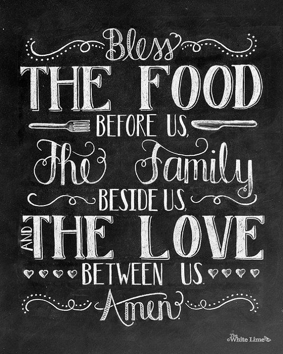 Kitchen Art Dining Room Bless The Food Before Us Chalkboard Sign Family Print Chalk Rustic