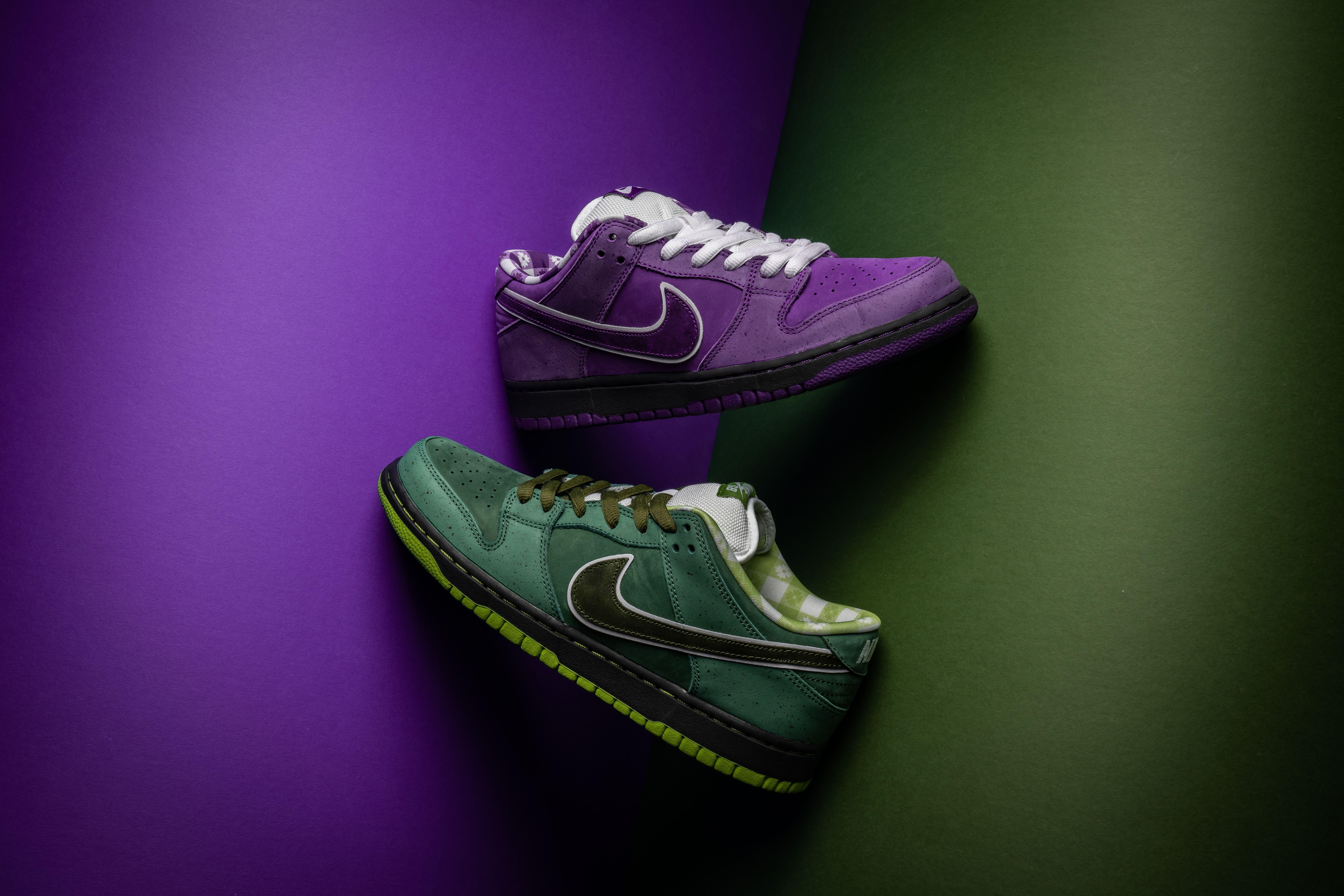nike dunks green black white purple