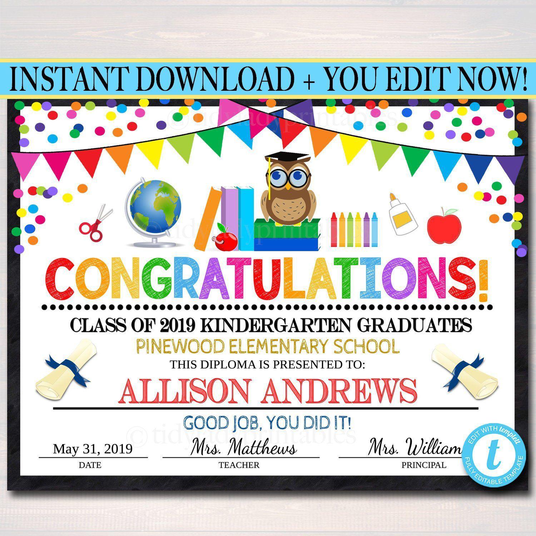 Graduation Certificate Any Grade Printable Diploma Kindergarten