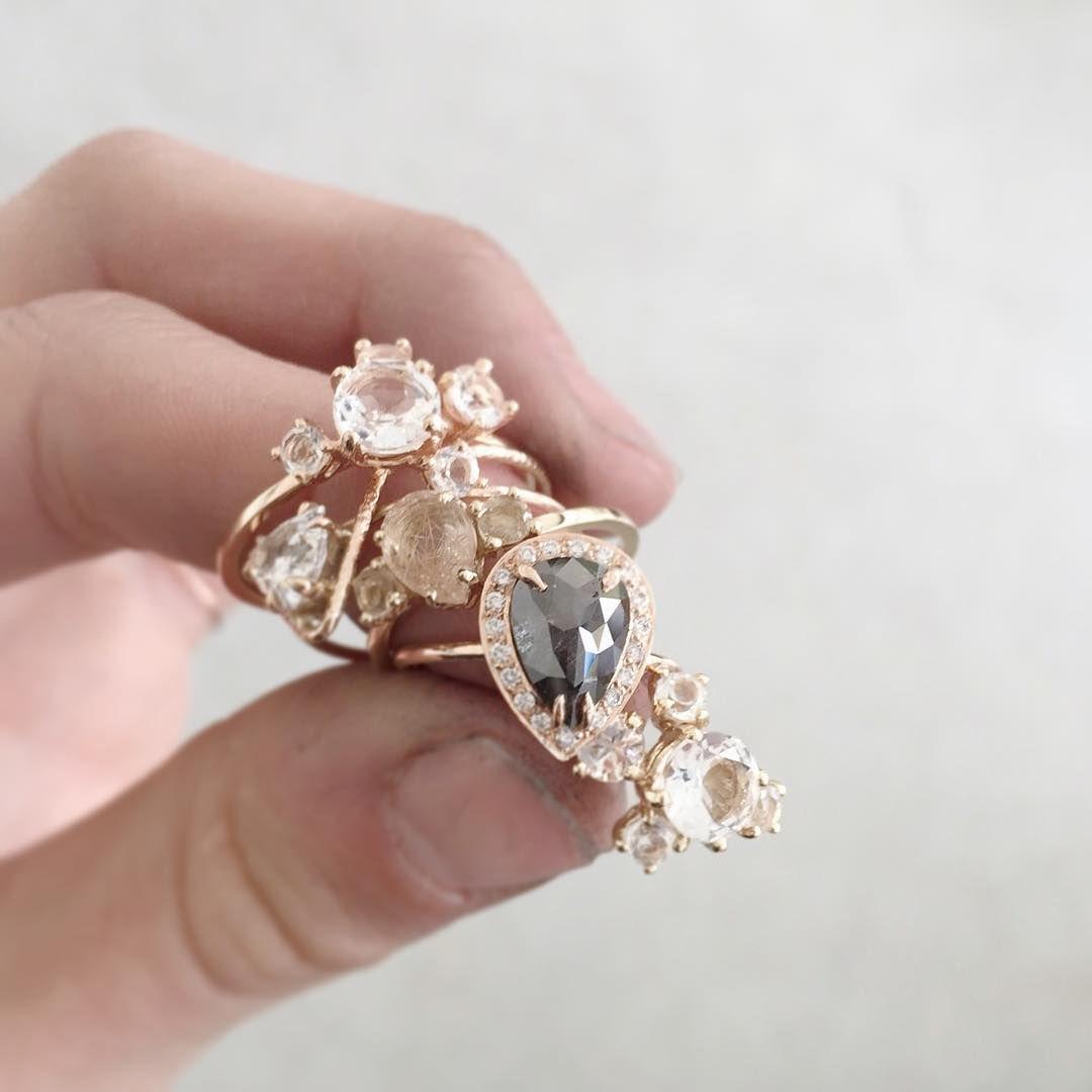 Custom Made Engagement Rings Grey Diamond With Halo, Rutile Quartz,  Moonstone