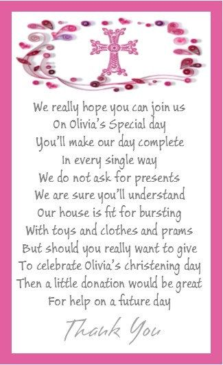50 X Mini Polite Christening Money For Gift Poem By Occasions4u2