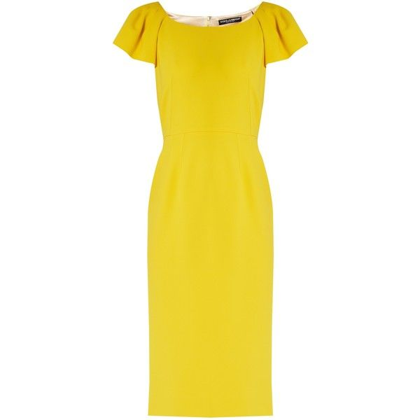 Dolce & Gabbana Cap-sleeved cady midi dress (3.110.695 COP) ❤ liked on Polyvore featuring dresses, yellow, cap sleeve midi dress, yellow dress, wrap cocktail dress, cap sleeve dress and yellow cocktail dress
