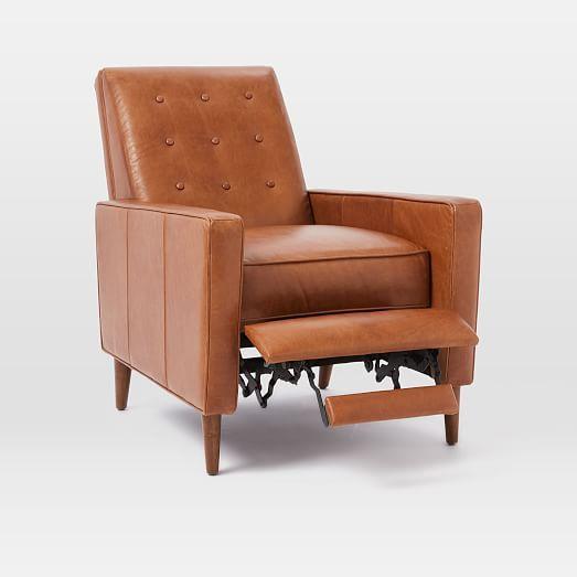 online retailer bb90d b580f Rhys Mid-Century Leather Recliner | Living room design in ...