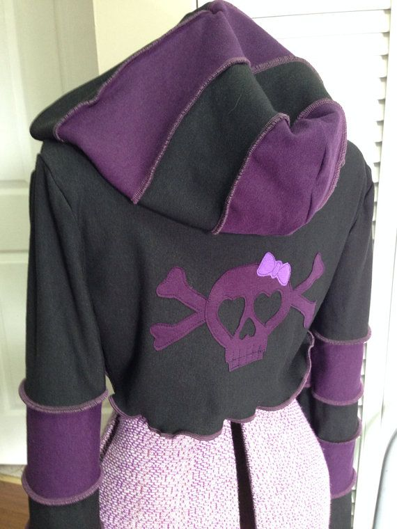 Purple black  striped hoodie shrug girly by FayeTalityCouture,