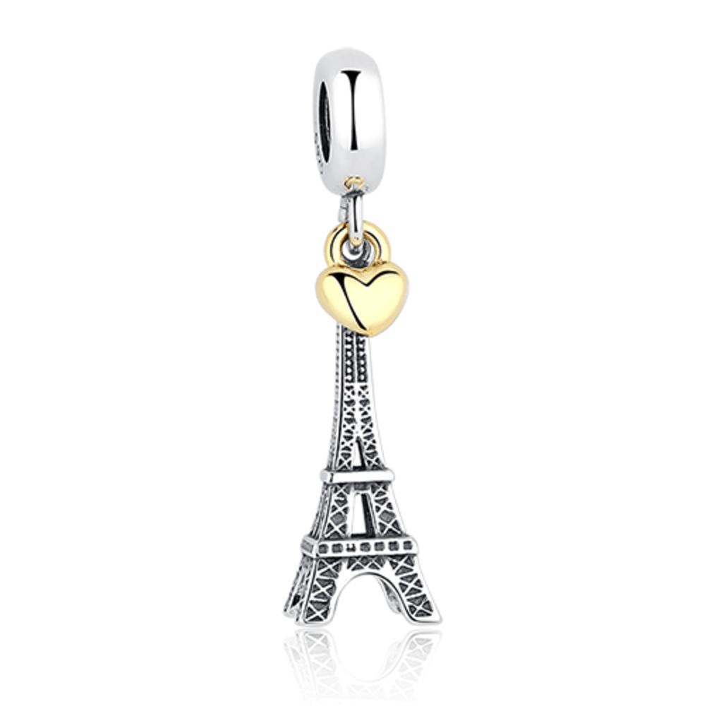 c26b0b33e Bracelet Charms - Luxurious Fancy Fashion S925 Sterling Silver Paris Eiffel  Tower Love Bracelet Charm