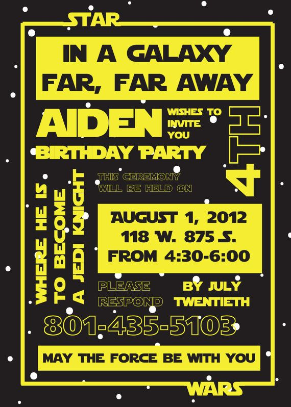 star wars birthday party invitation by susieandme on etsy, $3.00, Einladung