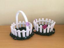"Photo of Crochet pattern Easter basket ""garden fence"""