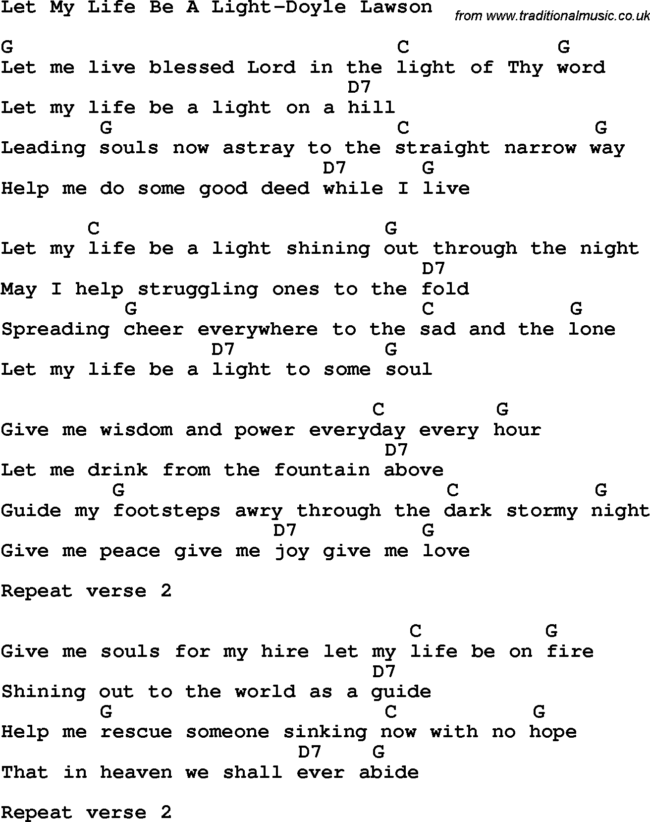 Country, Southern and Bluegrass Gospel Song Let My Life Be A Light ...