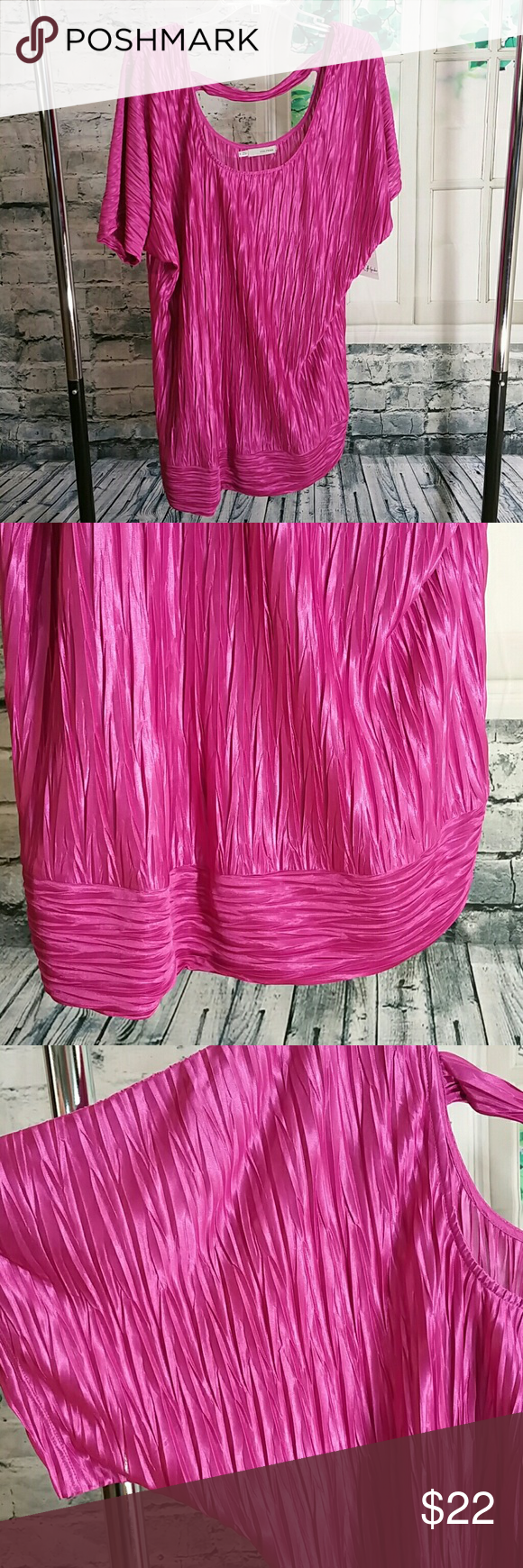 Plus sateen dolman 70069 Bright magenta scoop neck front and  back, back has strap across scoop. Stretch. Wide band hem. Maurices Tops Tees - Short Sleeve