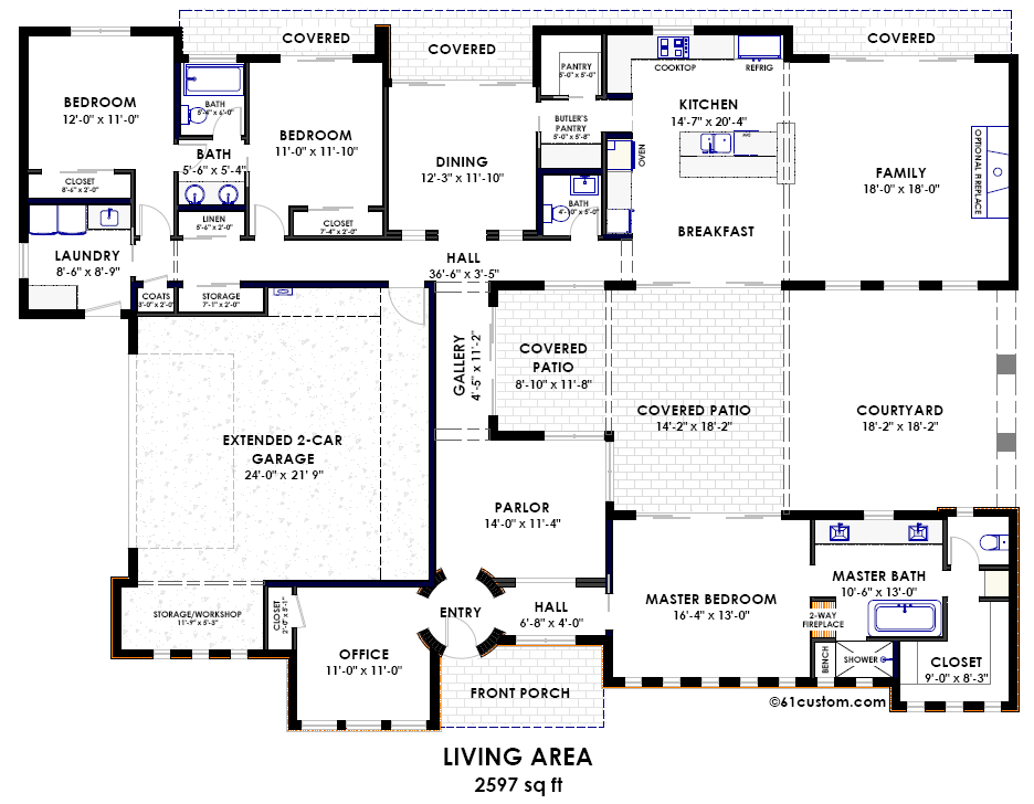 Contemporary Side Courtyard House Plan