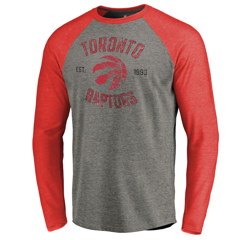 d807d0c23877a3 Men s Fanatics Branded Heathered Gray Toronto Raptors Heritage Big and Tall  Long Sleeve Tri-Blend Raglan T-Shirt