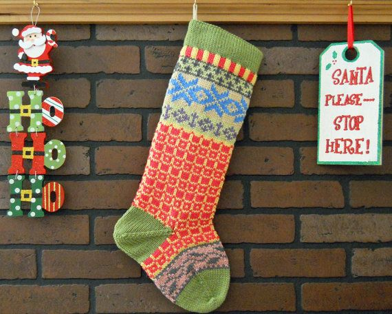 Personalized Christmas Stocking Hand Knit in Fern Green with Ivy ...