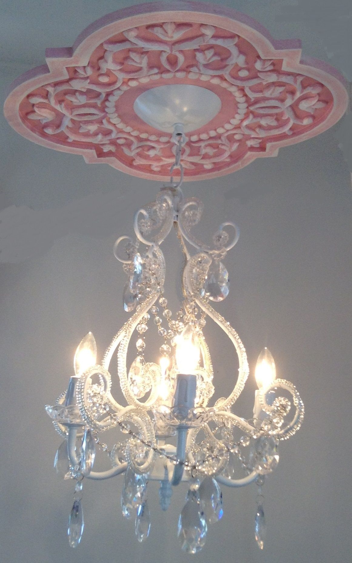 Ceiling Medallion by Marie Ricci with 4 arm white chandelier