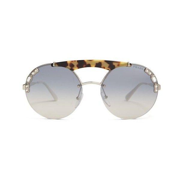 Embellished round-frame metal sunglasses Prada NJ3qH
