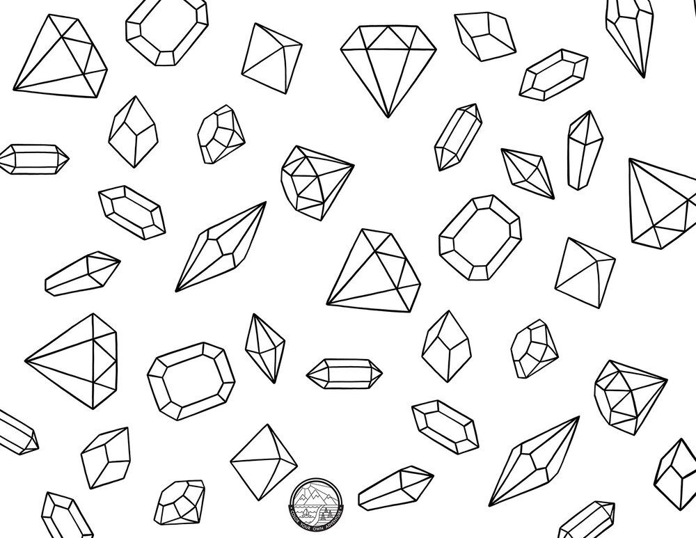 Gems Coloring Pages Coloring Pages Color Crystal Art