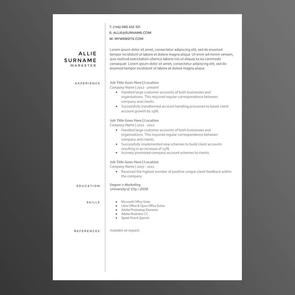 Clean And Modern ResumeCv Template The Allie By Cvwarehouse  Job