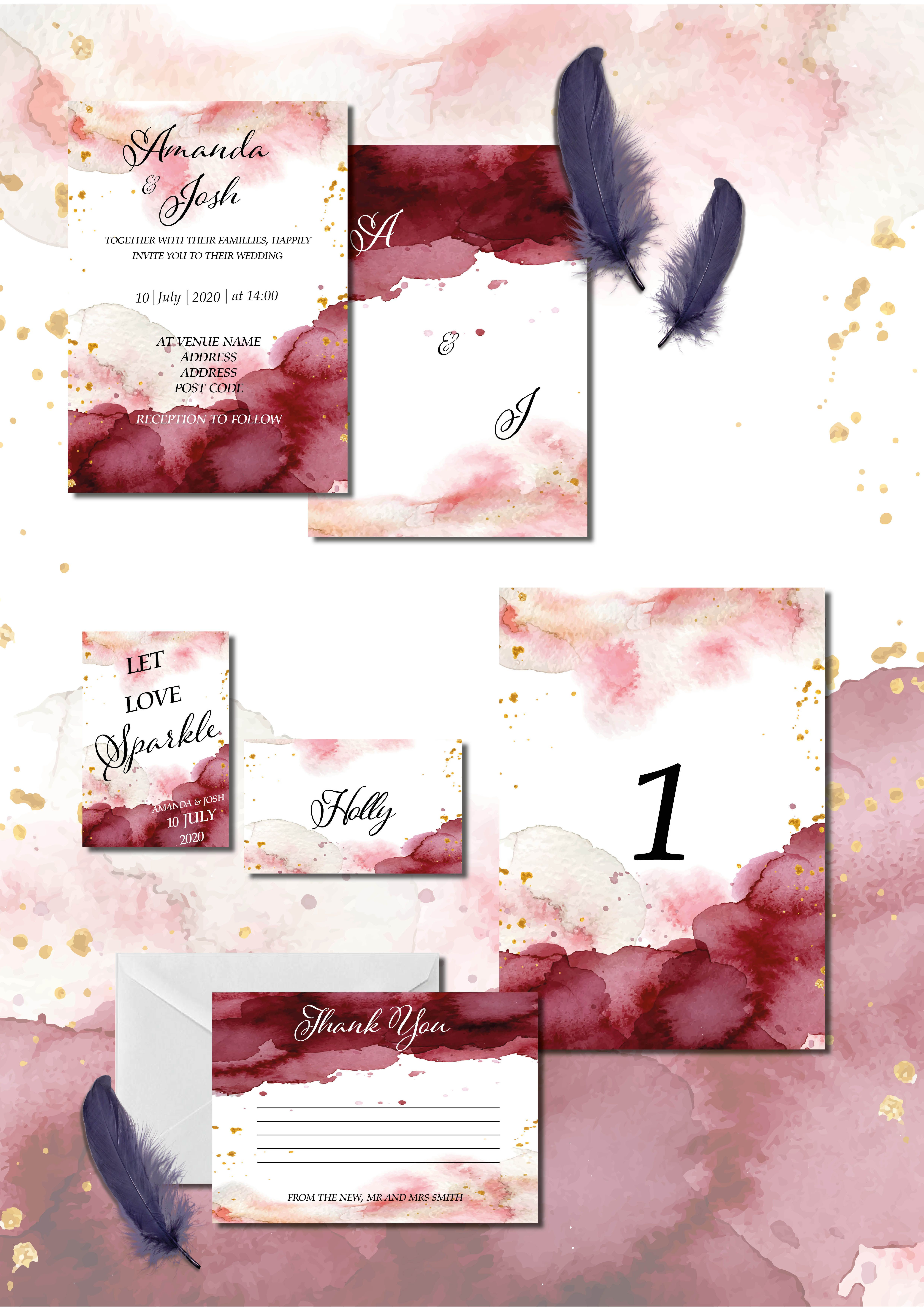 Burgundy, maroon and pink watercolour wedding invitation