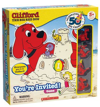 Neat idea - to send this game out to families invited!!   In this fun game, each player gets to be Clifford, racing around the board inviting their friends Cleo, T-Bone, Mac and Mimi to the beach party. Drop the die down the dog house dice slide and see how far you'll go! The first one to pass out all of their invitations and make it back to the party wins!