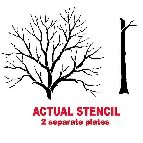 Large tree stencil for wall painting. Reusable mural ...