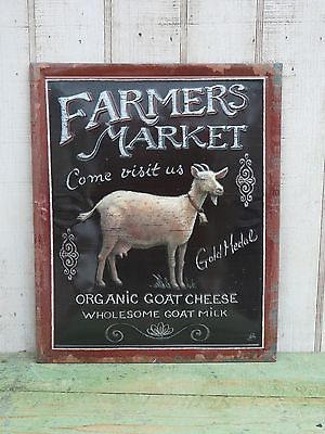 Primitive country Farmers Market embossed goat sign farmhouse home ...