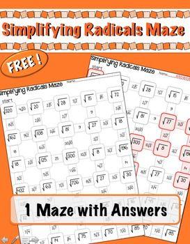 Simplifying Radicals Maze Freebie Simplifying Radicals Simplifying Radical Expressions Simplifying Radicals Activity