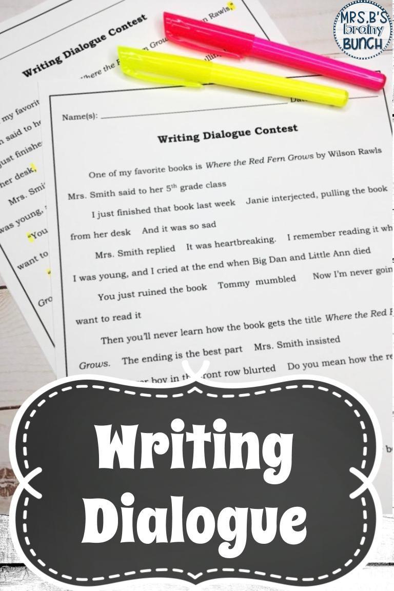 Writing Dialogue Writing dialogue, Teaching dialogue