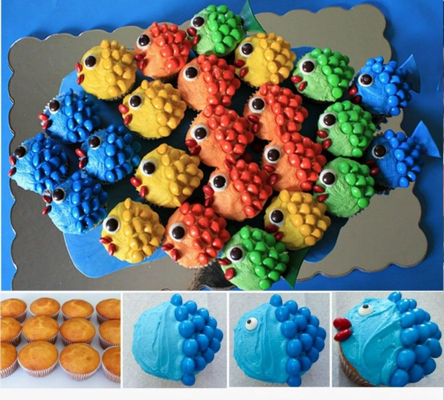 Fish Cupcakes Ideas Easy Video Tutorial Fish cupcakes Fish and