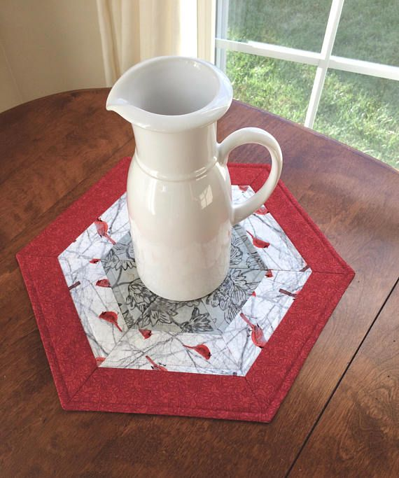 winter red gray and white cardinal quilted hexagon table topper rh pinterest com