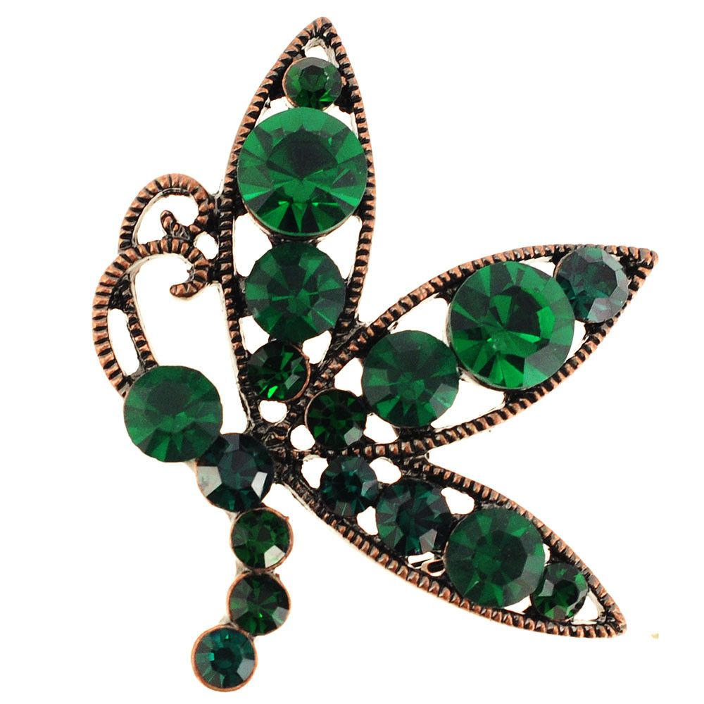 Vintage Style Emerald Flying Butterfly Pin Brooch