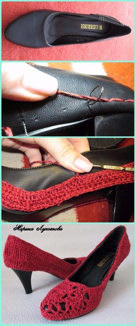 Crochet Leather Heels Free Pattern - DIY Ways Refashion Heels ...
