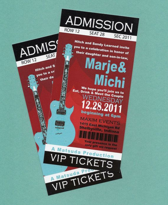 Printable DIY Concert Rock Nu0027 Roll Birthday, Concert TIckets, Ticket  Invitations, Music  Concert Ticket Invitations Template