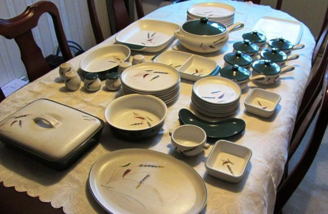 Denby GreenWheat 8 pice dinner set with loads of extras | eBay