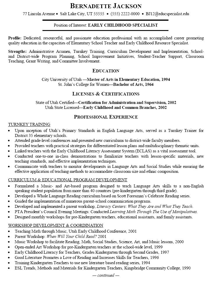 Lovely Resume Sample Of An Early Childhood Specialist With An Accomplished Career  Promoting Quality Education In The Capacities Of Elementary School Teacher  And ...