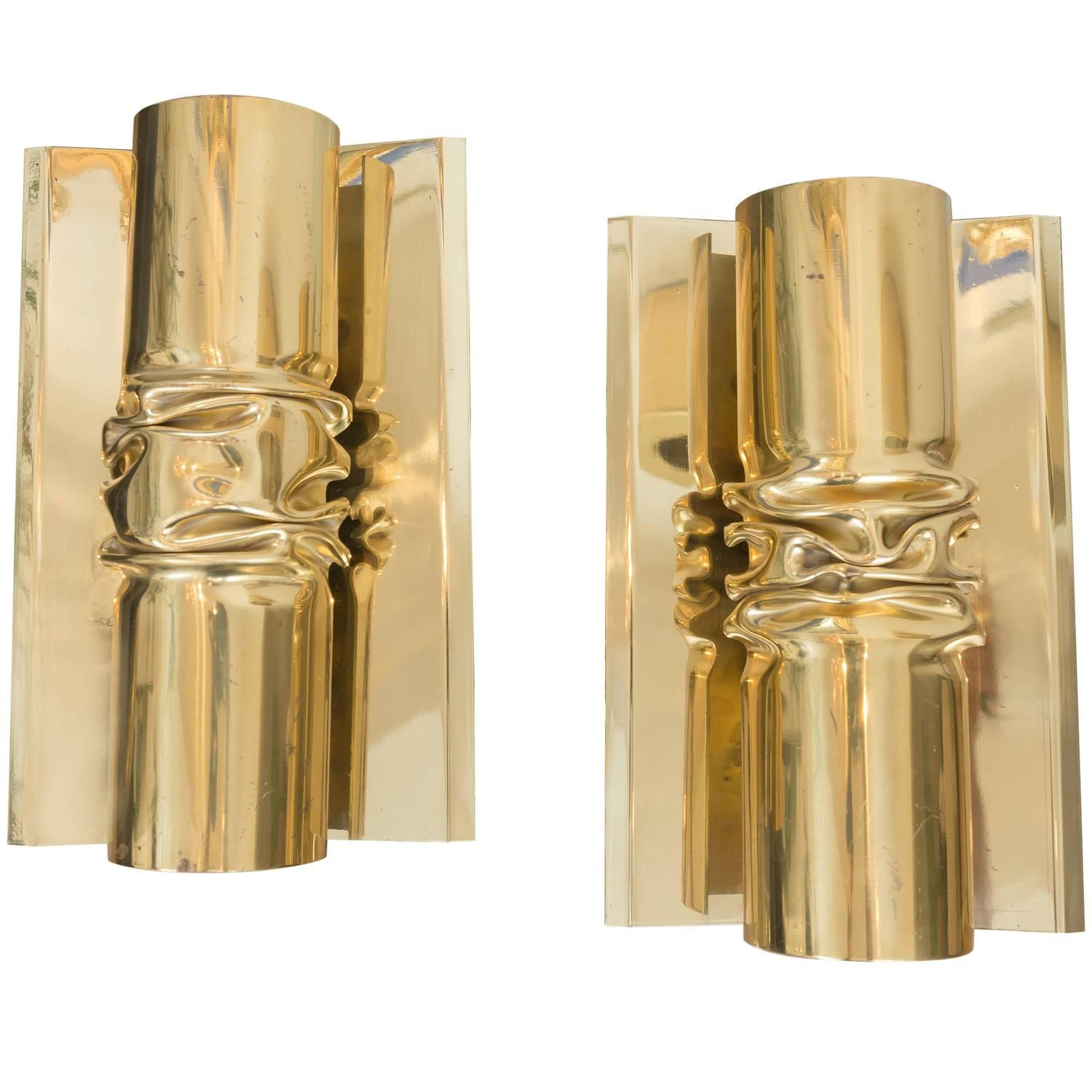 Brutalist italian brass scones see more antique and modern wall