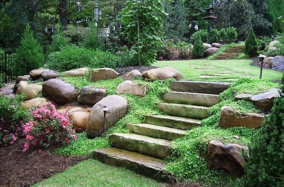 Landscaping Ideas For Hill In Backyard Cottage Exteriorporch - Backyard hill landscaping ideas