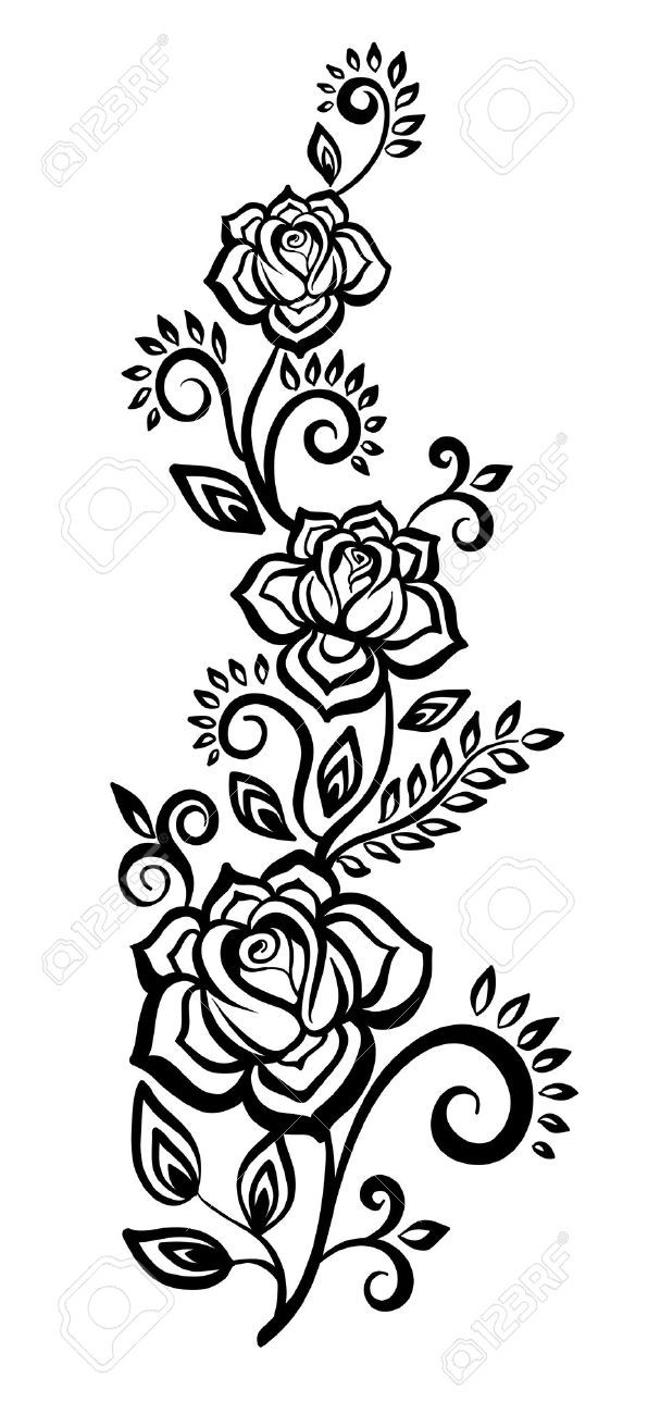 Black And White Flowers And Leaves Floral Design Element Flower Design Images Black And White Flowers Flower Sketches