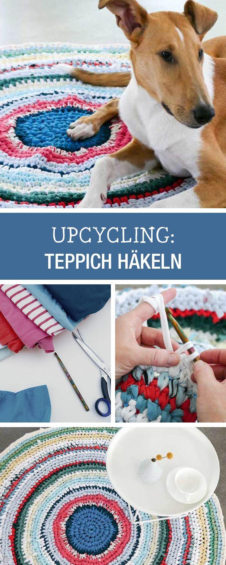 absoluter hingucker h kel dir einen teppich aus textilgarn ideen mit jerseygarn diy crochet. Black Bedroom Furniture Sets. Home Design Ideas