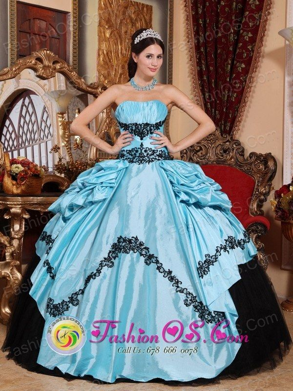 Spring Simple Baby Blue and Black Gorgeous Quinceanera Dress With ...