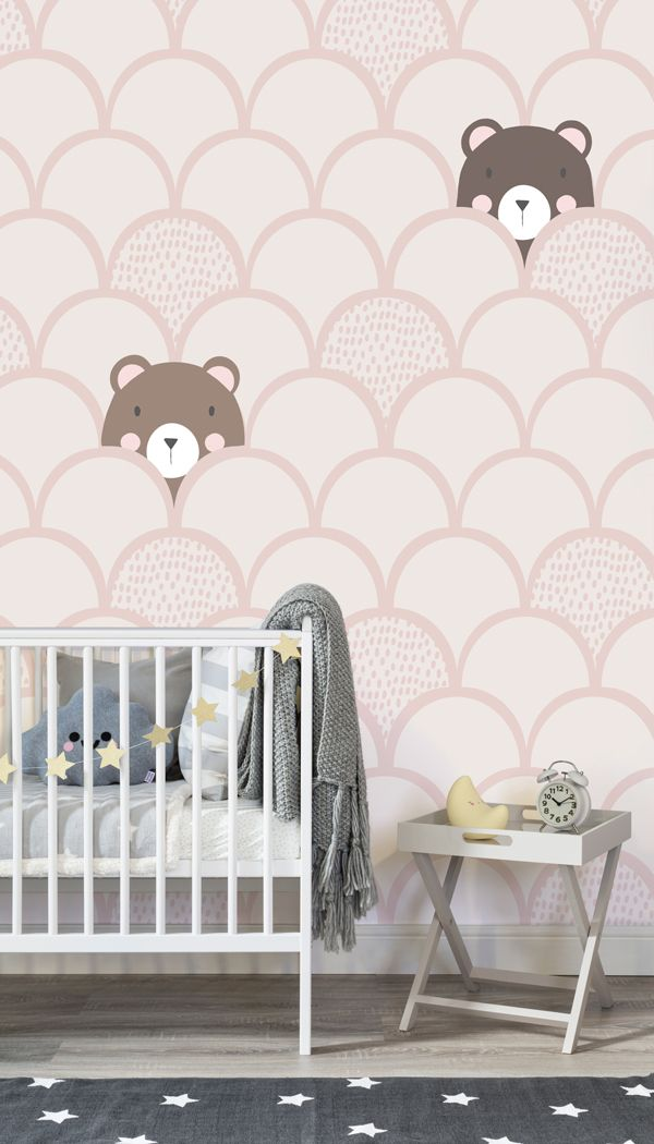 Transform Any Nursery Into A Calming Space By Adding The Kids Cream Pop Up Bears Wallpaper Mural A Bedroom Wallpaper Murals Mural Wallpaper Nursery Wallpaper
