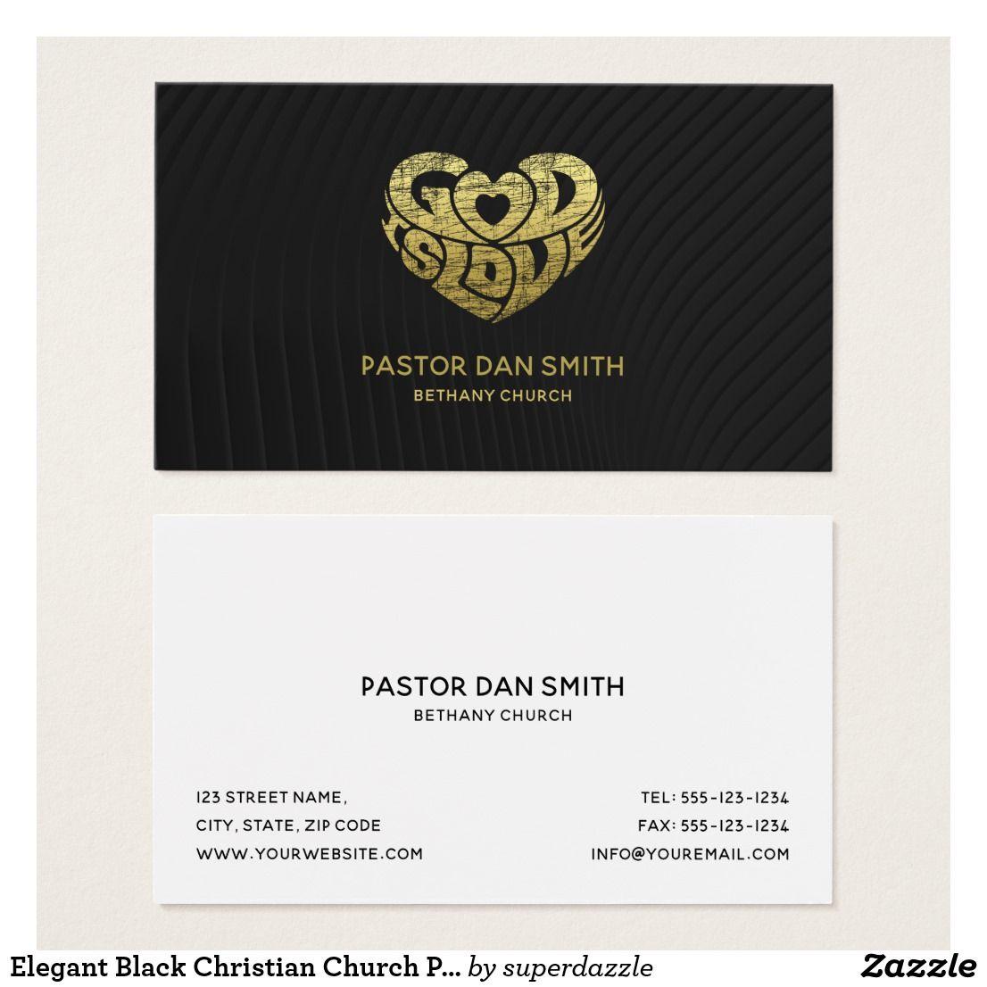 Elegant Black Christian Church Pastor   Ministry Business Card ...
