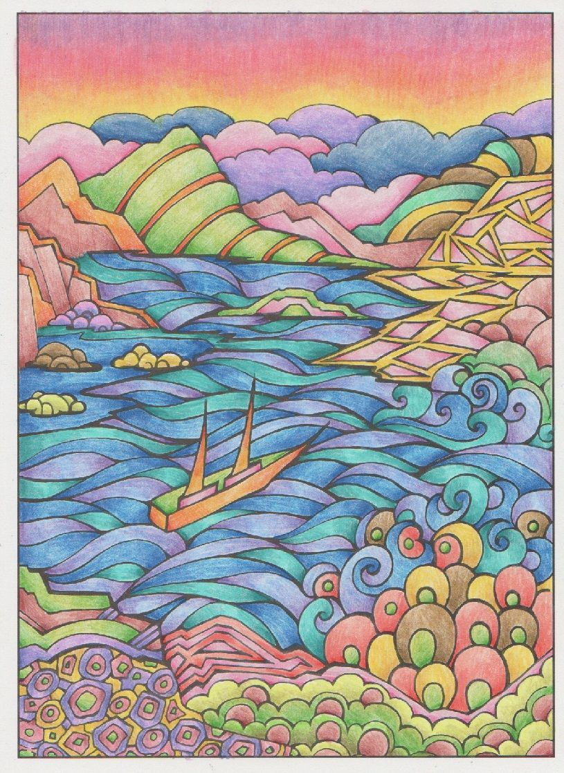 Magical Landscapes 001 From Creative Haven Creative Haven Coloring Books Coloring Books Doodle Designs
