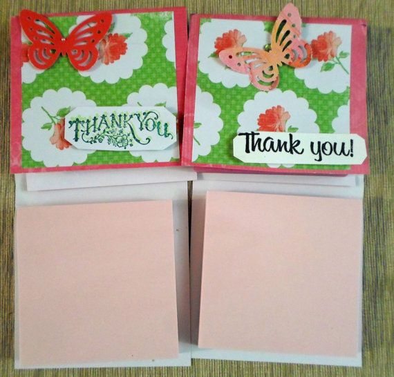 Set of 4 Office Thank You Post-It Note Pads Business Gift Ideas