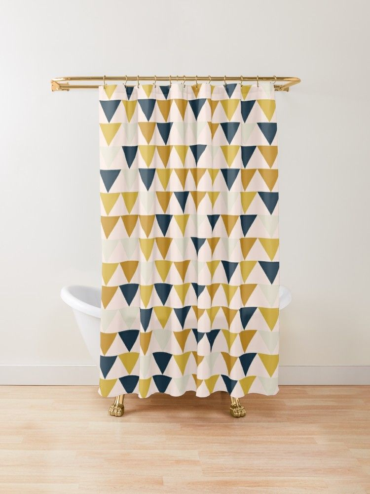 Arrow Pattern In Mustard Yellows Navy Blue And Blush Tones