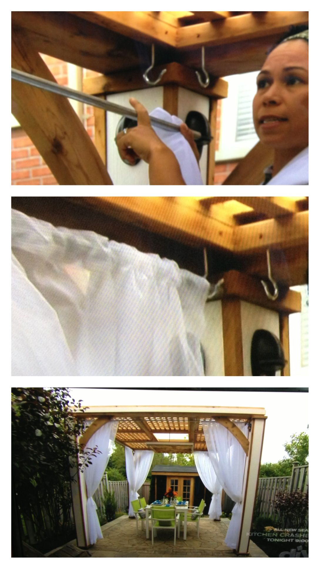 """Idea from DIY Network's """"Decked Out""""... Use galvanized steel rod/pipe and hooks to hang curtains in a pergola.  Great idea!"""