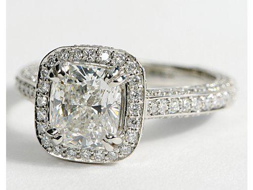 Heirloom Halo Micropav Diamond Engagement Ring in Platinum 58 ct