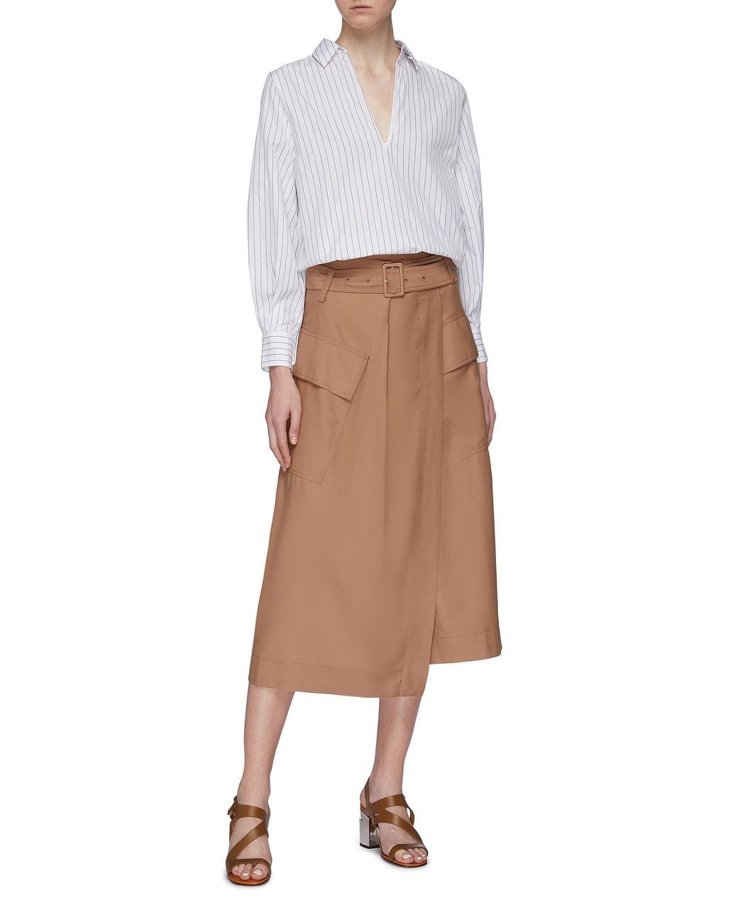 5793fb0ae4 Women's Brown Belted Cargo Pocket Wrap Utility Midi Skirt in 2019 ...