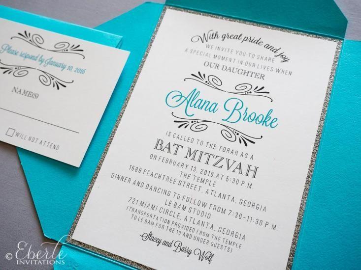 64bdf0736a Tiffany & Co Themed Bat Mitzvah Invitation | Invites | Bat mitzvah ...