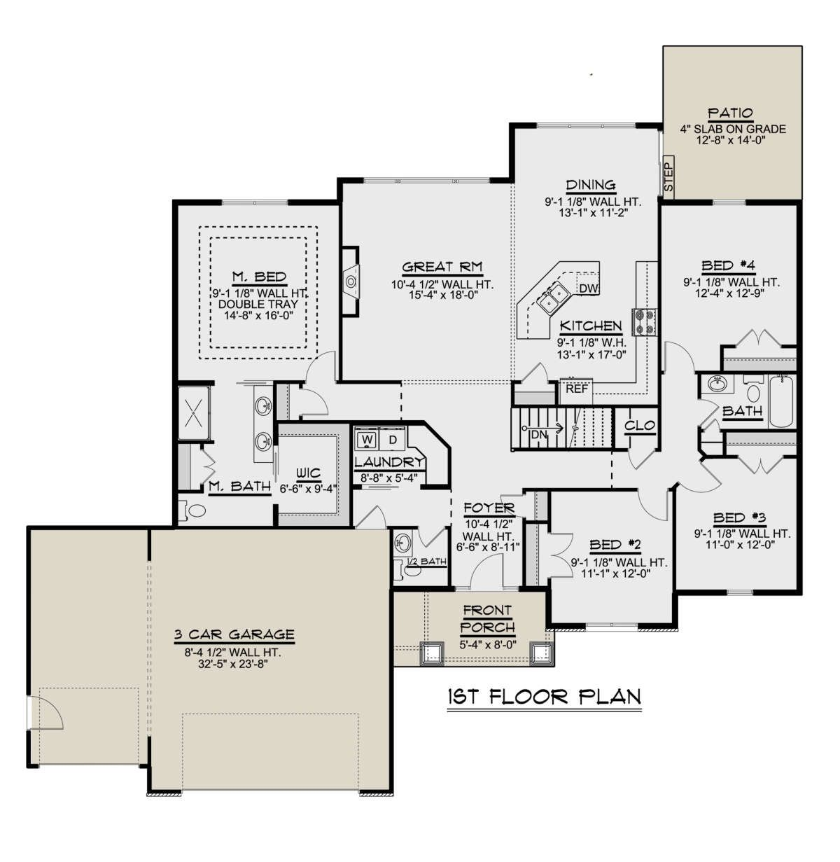 House Plan 5032 00026 2 106 Square Feet 4 Bedrooms 2 5 Bathrooms In 2020 House Plans House Floor Plans Floor Plan Drawing
