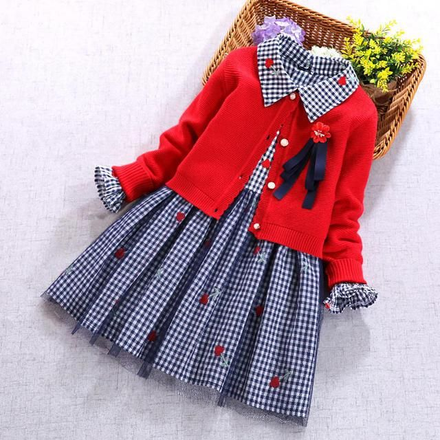 b92aea62b 2019 New Kids Sets For Girls Red Cardigan Sweater Coat And Long Sleeve  Plaid Flower Dress Spring Autumn 2 pcs Set Girl Clothing