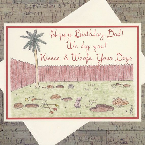Dog Birthday Card Dad Father By WhatACardCards
